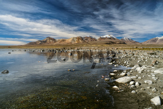 Scenic view of volcanic landscape in bolivian Sajama national park
