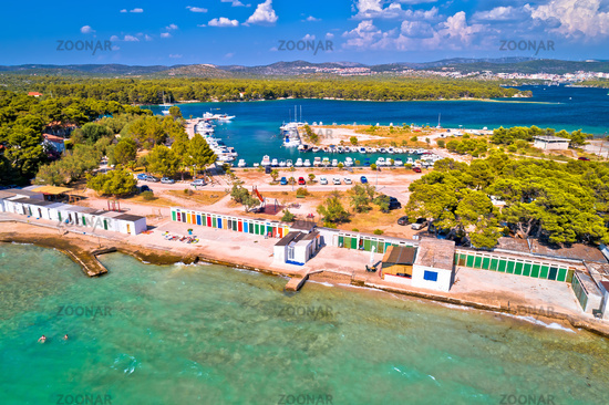 Jadrija beach and colorful cabins aerial view