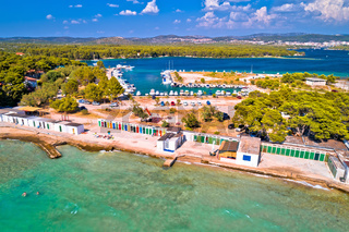 Jadrija beach and colorful cabins aerial view