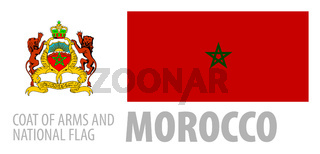 Vector set of the coat of arms and national flag of Morocco