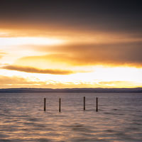 Sunset on lake Neusiedlersee in Burgenland