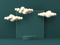 Mock up podium for product presentation square with clouds  3D