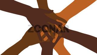 Viele gestapelte Hände als Netzwerk Konzept