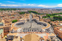 Rome Vatican Italy, high angle view city skyline at St. Peter's Square empty nobody