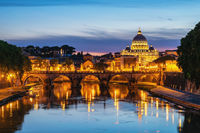 Rome Vatican Italy sunset city skyline at Tiber River