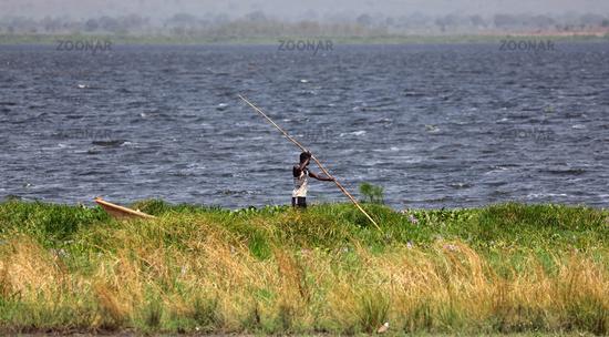 Fisherman at Lake Albert in Uganda