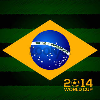 Poster design with Brasil flag and 2014 world cup text