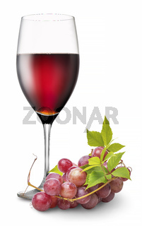 Wineglass with grape