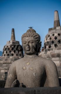 Buddha statue at Borobudur temple, Java, Indonesia