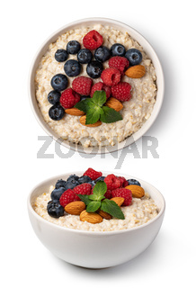 prepared oatmeal with berries and nuts