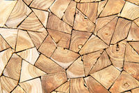 Close up of wooden firewood wall background