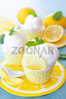 Frisches Zitronensorbet mit Minze