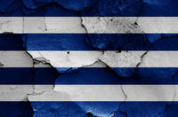 flag of Cerro Largo Department painted on cracked wall