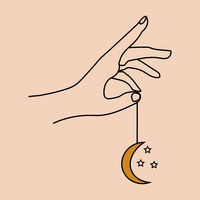 Hands holding crescent moon boho ethnic mystical magic style. Vector illustration