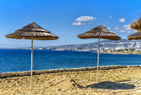 parasols on the coast of Cyprus
