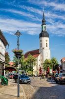 Lübbenau, Deutschland - 23.05.2019 - stadtpanorama mit nikolaikirche