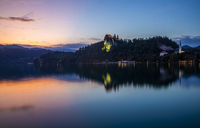 Sunset view of the Bled lake and castle