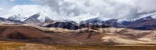 Panorama of Tso Kar - fluctuating salt lake in Himalayas. Rapshu