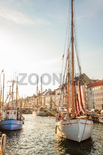 Old sailing boat in evening light in Copenhagen