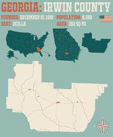 Map of Irwin County in Georgia
