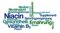 Word Cloud on a white background - Niacin (German)