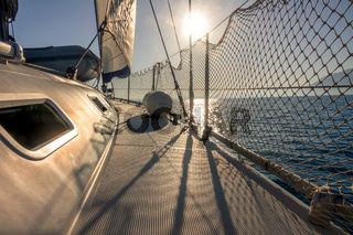 Deck of a Sailing Yacht in Sunny Weather