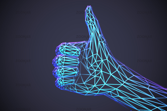 Concept of social network and media: 3D low poly human hand with like gesture.