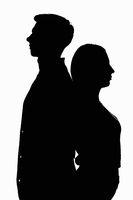 Black white contour portrait of two young men