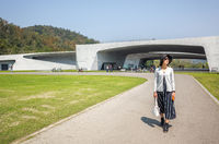 traveling woman walk at Xiangshan Visitor Center