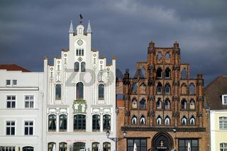 Historische Fachwerkhäuser in Wismar, Mecklenburg-Vorpommern, Deutschland