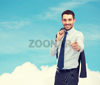 handsome businessman with jacket over shoulder
