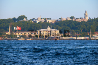 Seraglio Point with Topkapi Palace and Turkish Green Crescent Society building, Istanbul, Turkey
