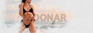Sexy 30s female in black bikini posing on the beach the sea. Digitally altered horizontal image, digital art watercolour cropped photo