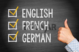 Languages - English French German
