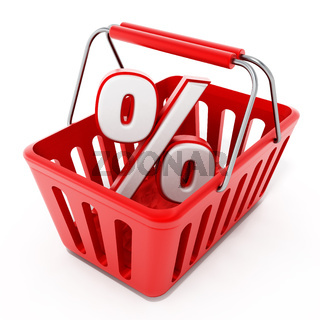 Shopping basket with percentage icon