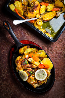 Baked lemon chicken with potatoes