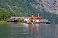 View from Lake Koenigssee to St. Bartholomae