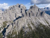 Aerial view of the mountains over the Col de Varda mountain station in Italy
