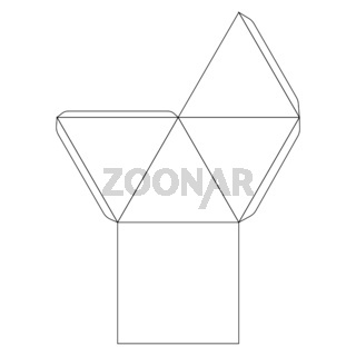 Classic paper pyramid template, trim scheme on white