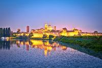 City of Mantova skyline lake reflections dawn view
