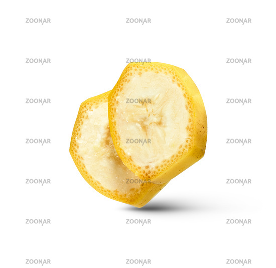 Cut slices of natural ripe fresh banana fruit isolated on a white background.