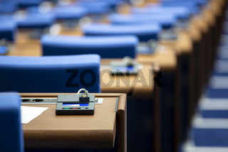 Inside of an empty parliament