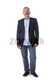Full length senior man portrait on white