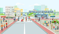 Cityscape with road traffic, elevated train and people illustration