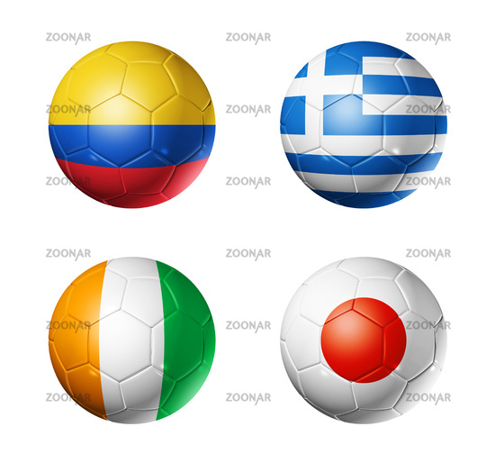 Brazil world cup 2014 group C flags on soccer balls
