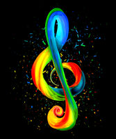 Colorful trebe clef on black background with particles