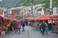 The famous Bergen fish market which is located at the City's harbor, many tourists and locals freque