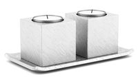 two metallic candlesticks with candles isolated