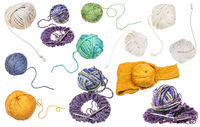 set of various skeins isolated on white