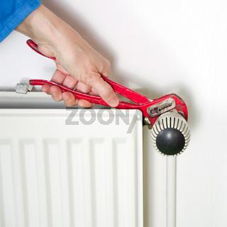 Plumber and radiator